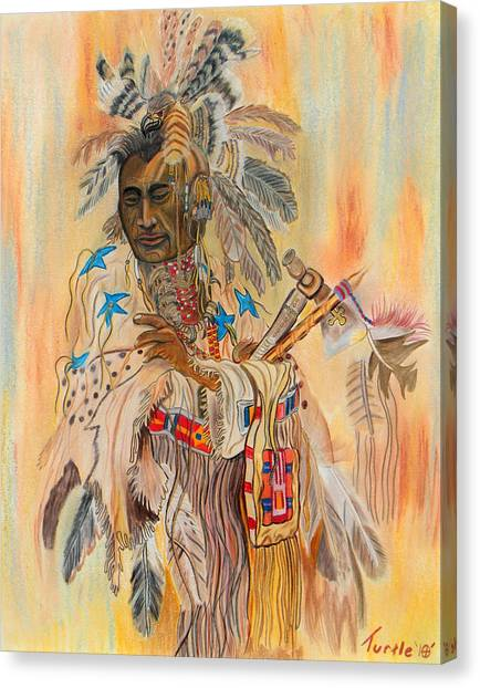 Native American Colored Pencil Rendition Of A Larry Fanning Oil Painting Canvas Print by The Nothing Machine Ink