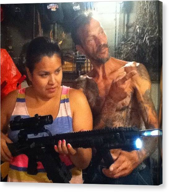 Guns Canvas Print - Native American Meets Gun Owner... My by Charles Dowdy