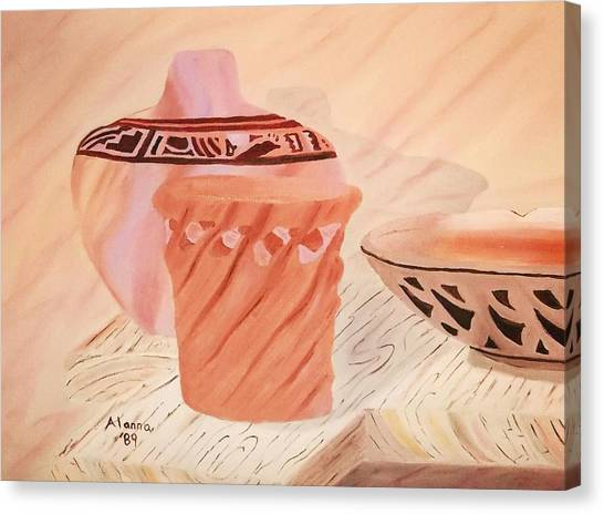 Native American Pottery Canvas Print by Alanna Hug-McAnnally