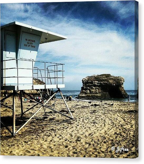 Lifeguard Canvas Print - Natural Bridges State Beach by Jifree Photography