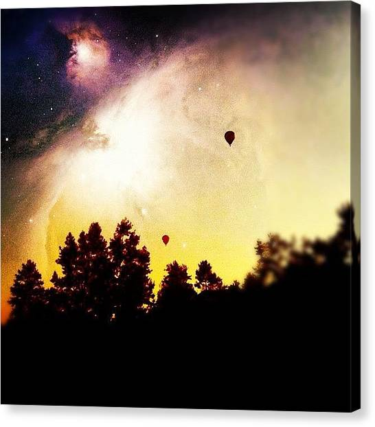 Golf Canvas Print - #nature #sky #balloon #tree #dark by Brandon Yamaguchi