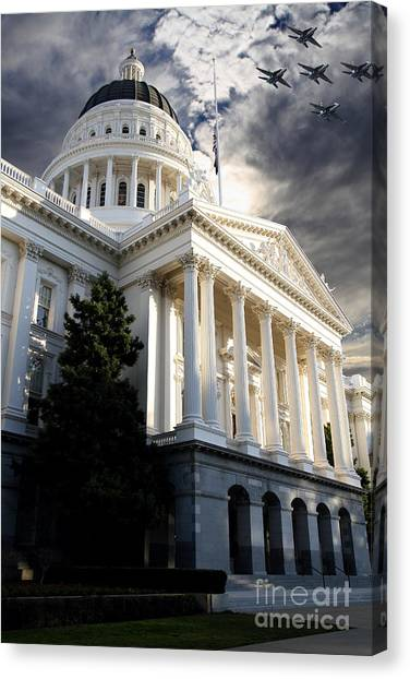 Arnold Schwarzenegger Canvas Print - Navy Blue Angels Flying Over The California State Capitol . 7d11771 by Wingsdomain Art and Photography