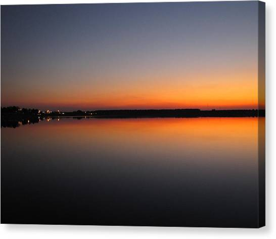 Navy Orange Sunset Canvas Print