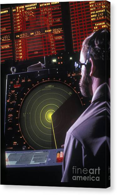 Air Traffic Control Canvas Print - Navy Petty Officer Students Practice by Michael Wood