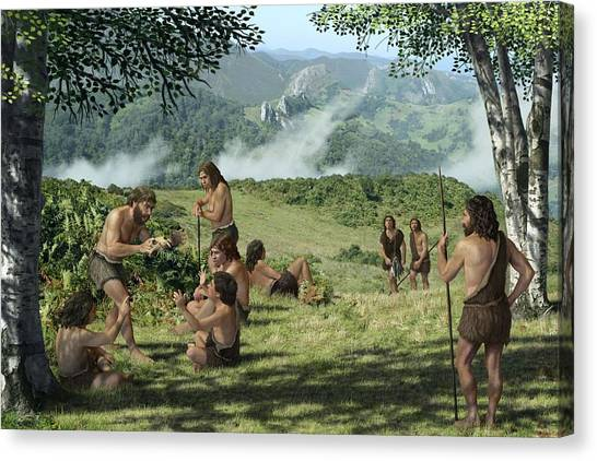Neanderthals In Summer, Artwork Canvas Print by Mauricio Anton