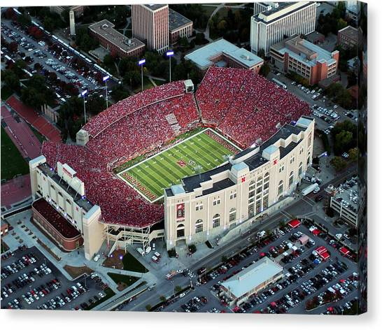 University Of Nebraska Canvas Print - Nebraska Aerial View Of Memorial Stadium  by PRANGE Aerial Photography