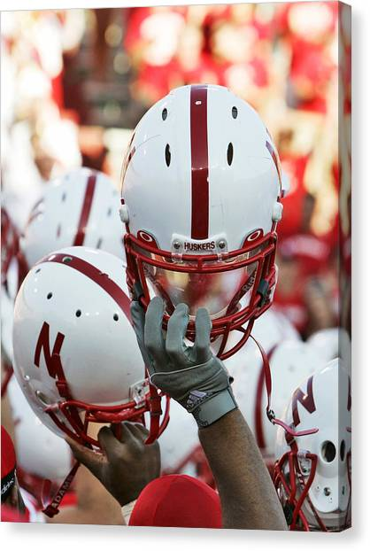 University Of Nebraska Canvas Print - Nebraska Football Helmets  by University of Nebraska
