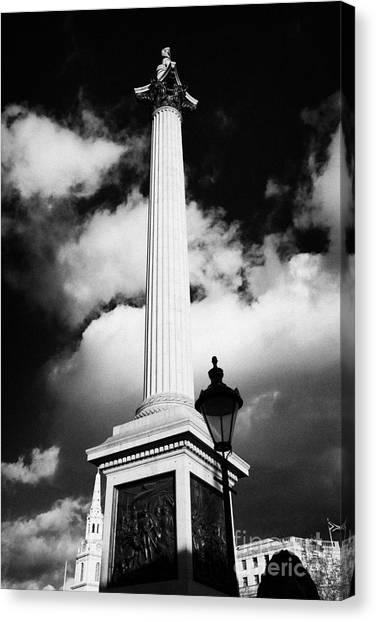 nelsons column in Trafalgar Square London England UK United kingdom Canvas Print by Joe Fox
