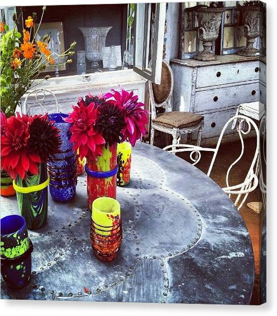 Quirky Canvas Print - Neon Bright Vases by Natasha Futcher
