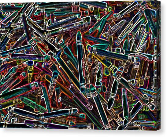 Neon Crayons Canvas Print by Bernadette Kazmarski