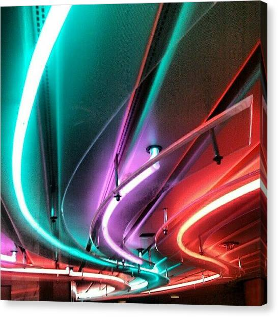 Nude Canvas Print - #neon #light #tubular #lighting by Kevin Zoller