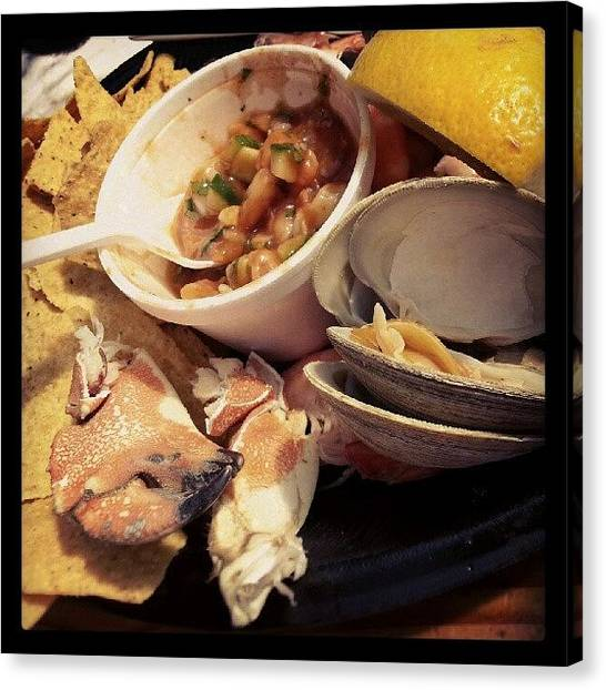Seafood Canvas Print - Neotune's Net Steamed Sampler by Lisa Marchbanks