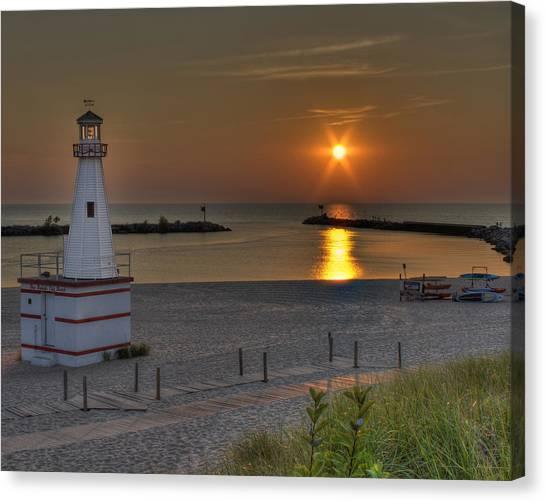 New Buffalo City Beach Sunset Canvas Print