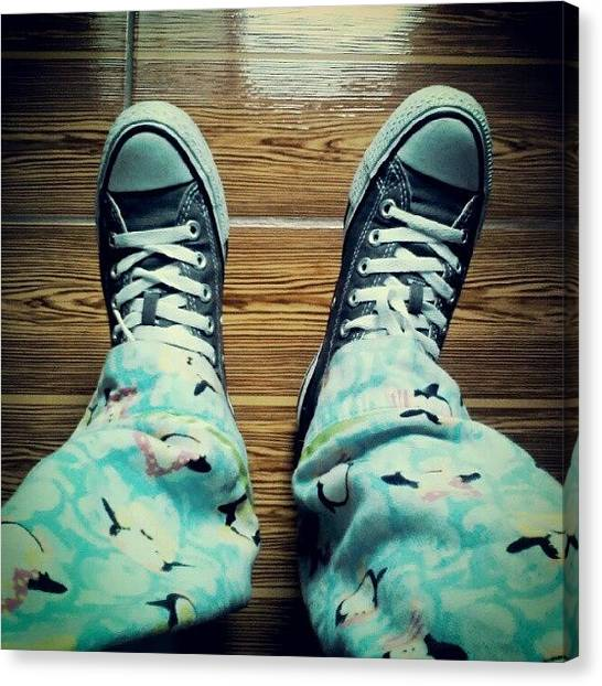 Penguins Canvas Print - #new #chucks And #penguin #pj's On A by Carlu Chi