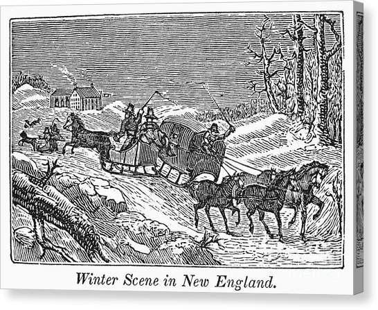 Sleds Canvas Print - New England: Winter by Granger