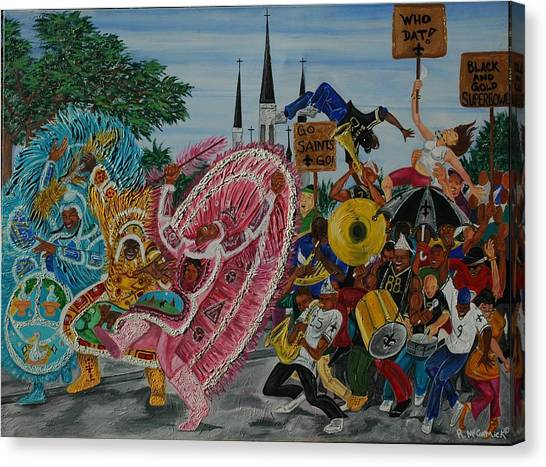 ''new Orleans Secondline'' Canvas Print by Mccormick  Arts