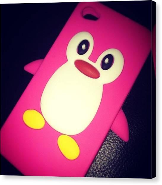 Penguins Canvas Print - New Phone Case #pink #penguin #iphone by Emma Carpenter
