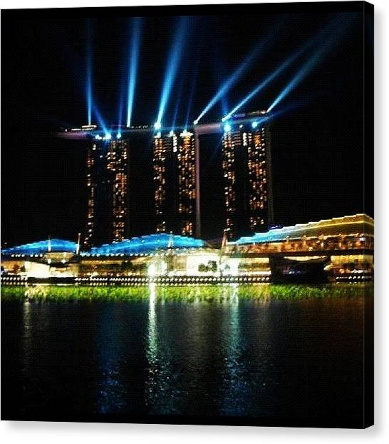 Marinas Canvas Print - New Years Eve At Marina Bay, Singapore by Robert Puttman