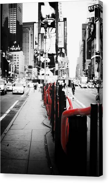 New york times square black and white photography with color accents canvas print by dapixara