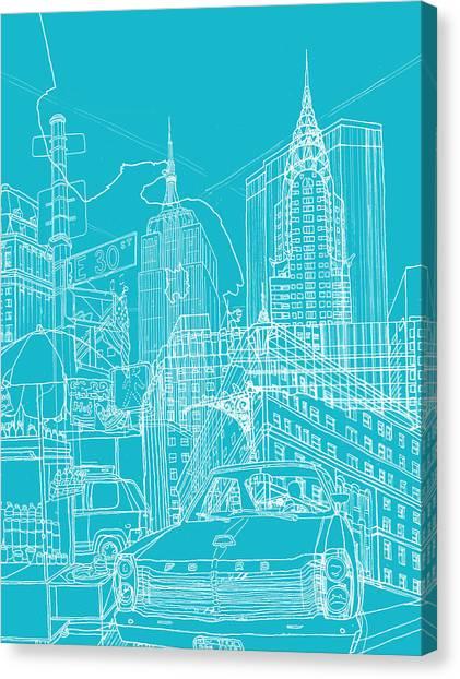 New York Blue Print Canvas Print by David Bushell