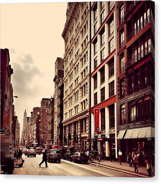 Nyc Canvas Print - New York City - Cloudy Day On Broadway by Vivienne Gucwa