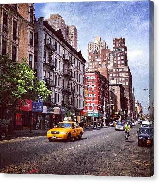 Bicycle Canvas Print - New York City Street Scene On A Beautiful Day by Vivienne Gucwa