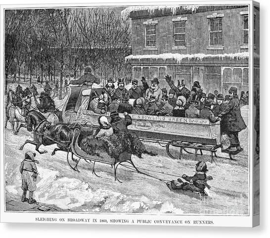 Sleds Canvas Print - New York: Sleighing, 1860 by Granger