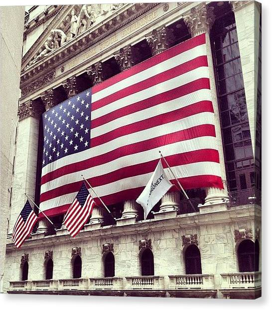 White Canvas Print - New York Stock Exchange/wall Street by Randy Lemoine