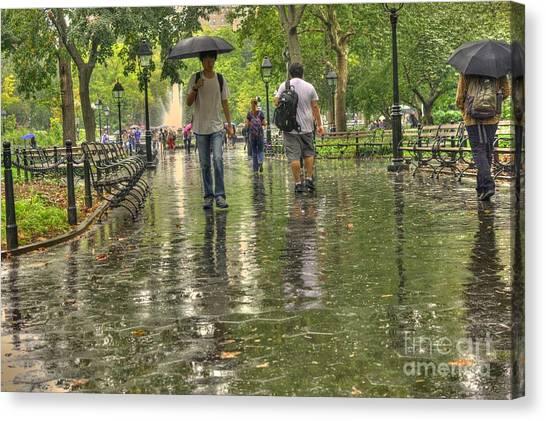 New York University Canvas Print - New York Street - Rainy Day by David Bearden