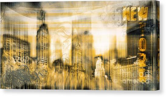 New York Vintage Style Canvas Print by Frank Waechter
