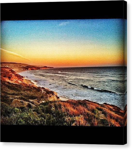 Beach Cliffs Canvas Print - Newport Beach Coast At Sunset. Snapseed by Loghan Call