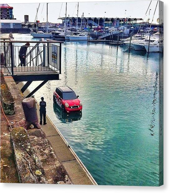Yachts Canvas Print - #newzealand, #auckland, #harbour, #car by Evgeny Poliganov