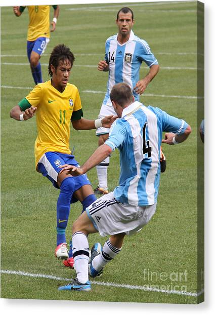 Lionel Messi Canvas Print - Neymar Doing His Thing IIi by Lee Dos Santos