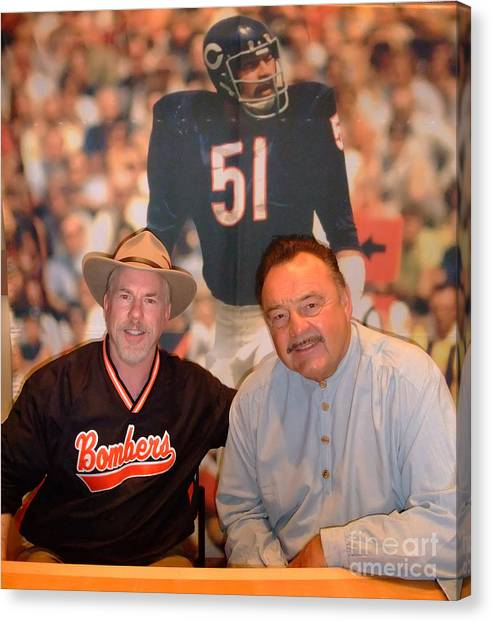 Dick Butkus Canvas Print - Nfl Hall Of Fame Legend Dick Butkus At Field Of Dreams In Las Vegas by Jim Fitzpatrick