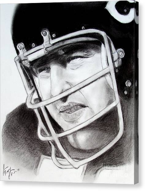 Dick Butkus Canvas Print - Nfl Hall Of Fame Player Dick Butkus Of The Chicago Bears by Jim Fitzpatrick
