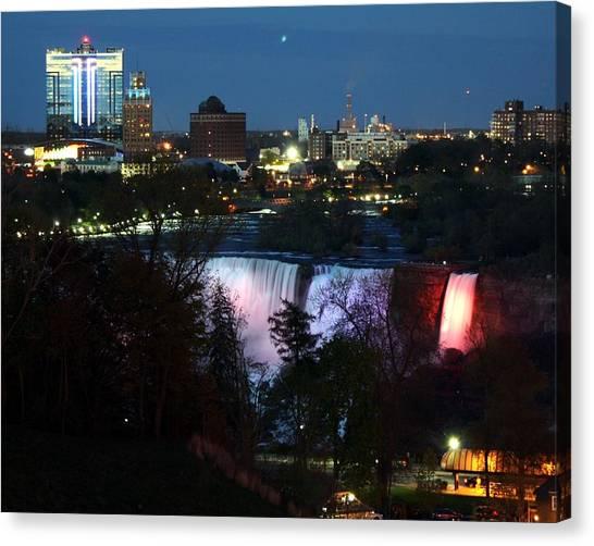 Niagara Falls Ny At Night Canvas Print by David Gilman