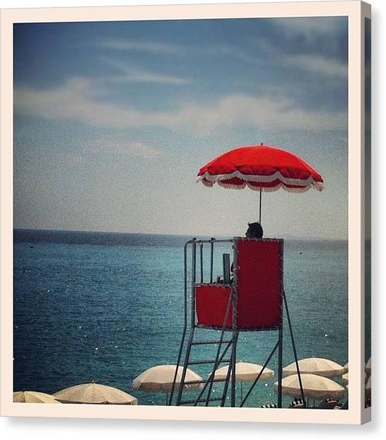 Lifeguard Canvas Print - Nice France. #redthursday #beach by Brad James