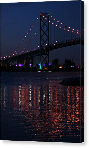Night Reflections-detroit River Canvas Print