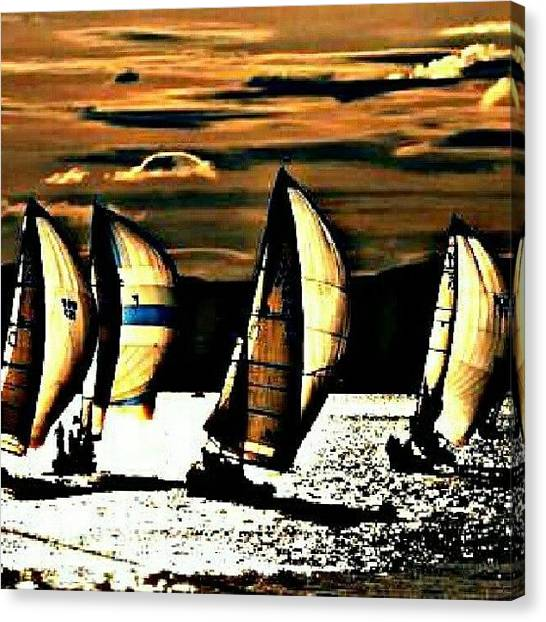 Sailboats Canvas Print - Night Sailing. #night #sailing #boat by Mary Carter