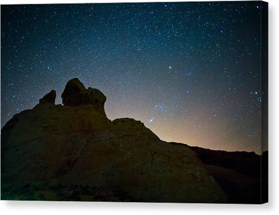 Valley Of Fire Canvas Print - Night Sky Over Valley Of Fire by Rick Berk