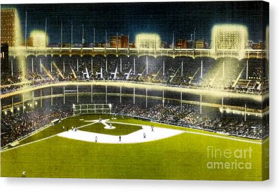 Night View Of Yankee Stadium In The 1950's Canvas Print