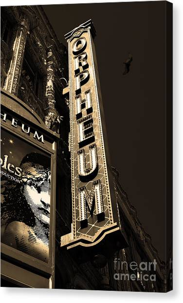 Orpheum Canvas Print - Nightfall At The Orpheum - San Francisco California - 5d17991 - Sepia by Wingsdomain Art and Photography