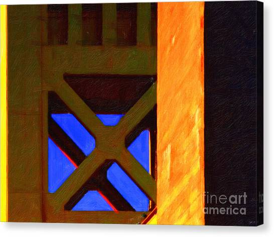Nightfall Over Sacramento In Abstract . Vision 3 Canvas Print by Wingsdomain Art and Photography