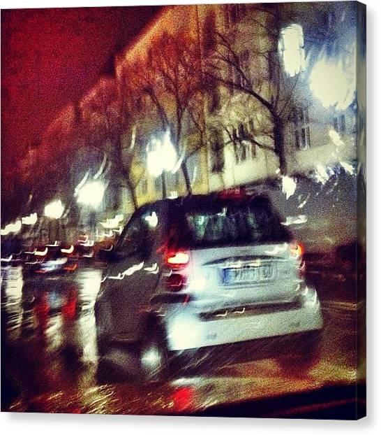 Berlin Canvas Print - Nightlights And Rain 4 by Cornelia Woerster