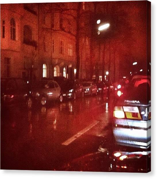 Berlin Canvas Print - Nightlights And Rain by Cornelia Woerster