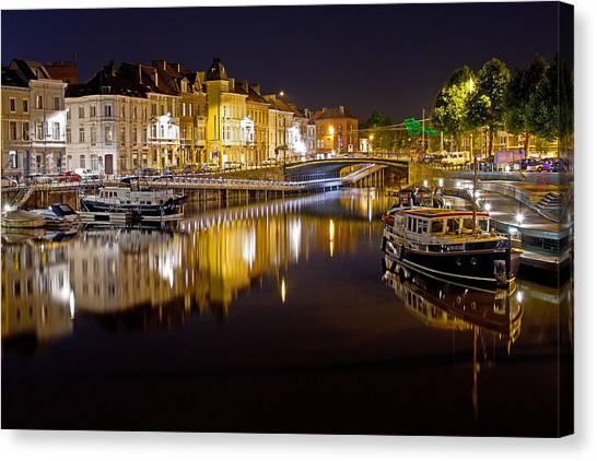 Nighttime Along The River Leie Canvas Print