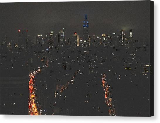 Nighttime Manhattan Skyline From Houston Street Canvas Print