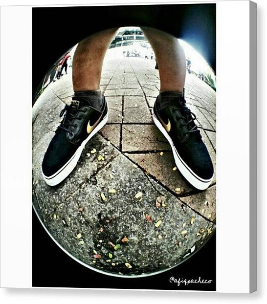 Ticks Canvas Print - #nike #shoe #fisheye #black #gold #tick by Afiq Rashid
