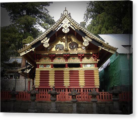 Monastery Canvas Print - Nikko Architecture With Gold Roof by Naxart Studio