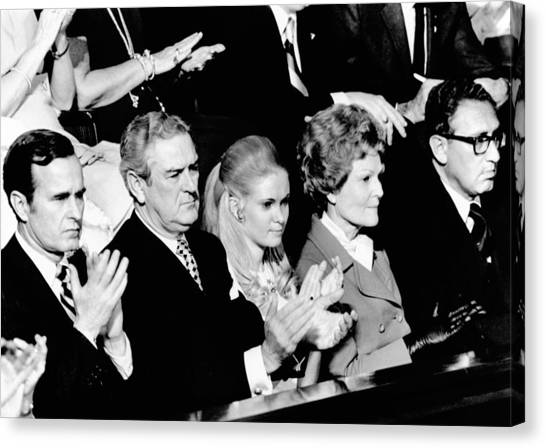 George Bush Canvas Print - Nixon Family And Administration Listen by Everett